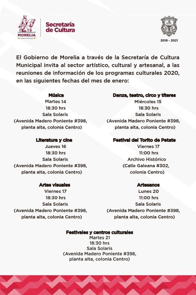 Llama SeCultura a los gremios artístico-culturales a reuniones informativas
