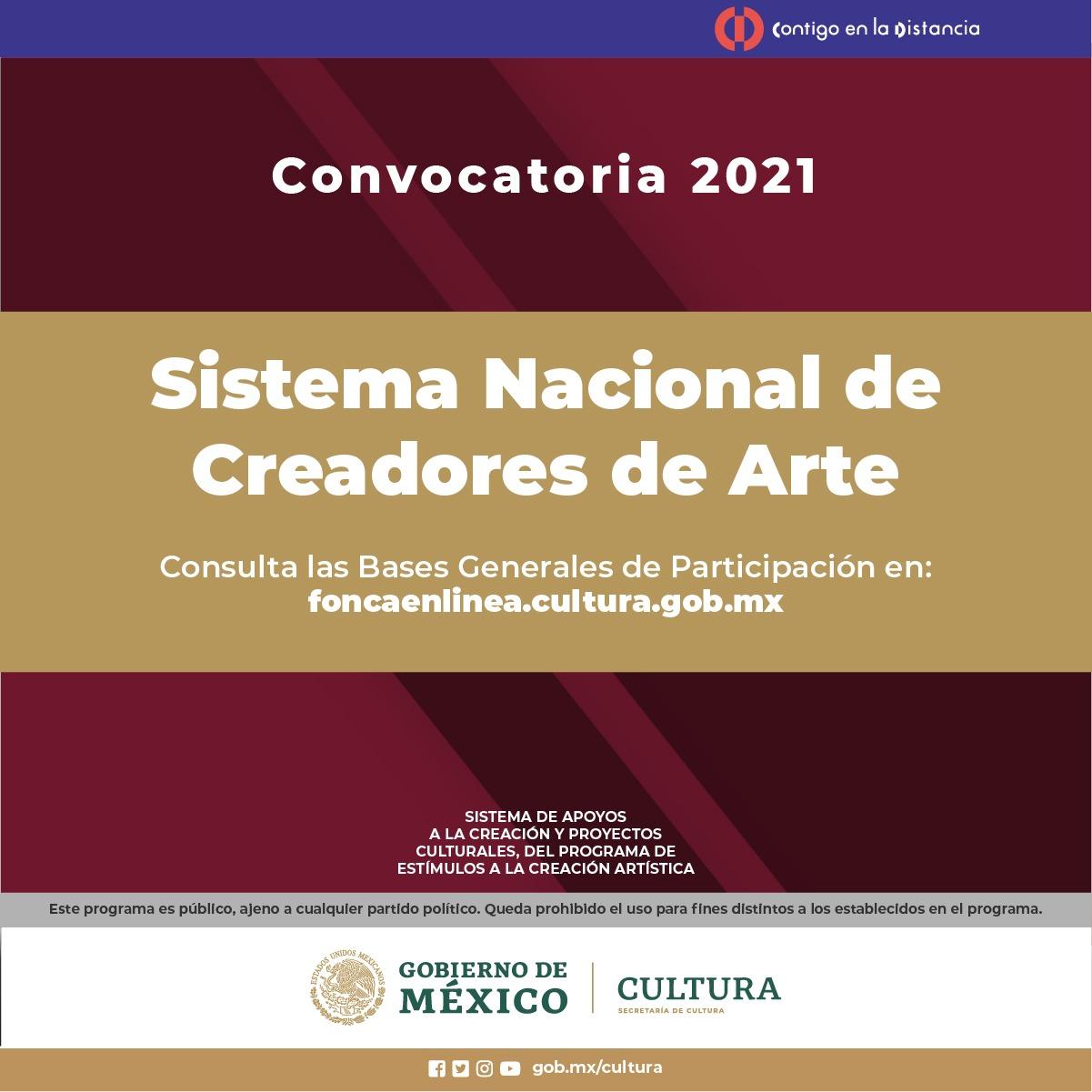 Lanzan convocatoria para el Sistema Nacional de Creadores de Arte 2021