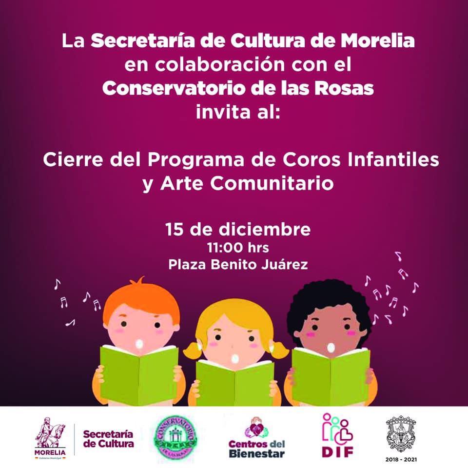 Niñas y niños, listos para el cierre del programa de Coros Infantiles y Arte Comunitario