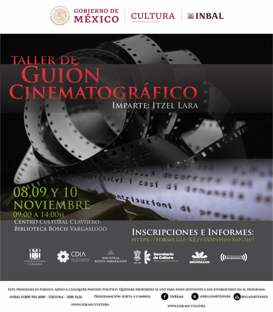 Impartirán Taller de Guión Cinematográfico gratis, en Clavijero