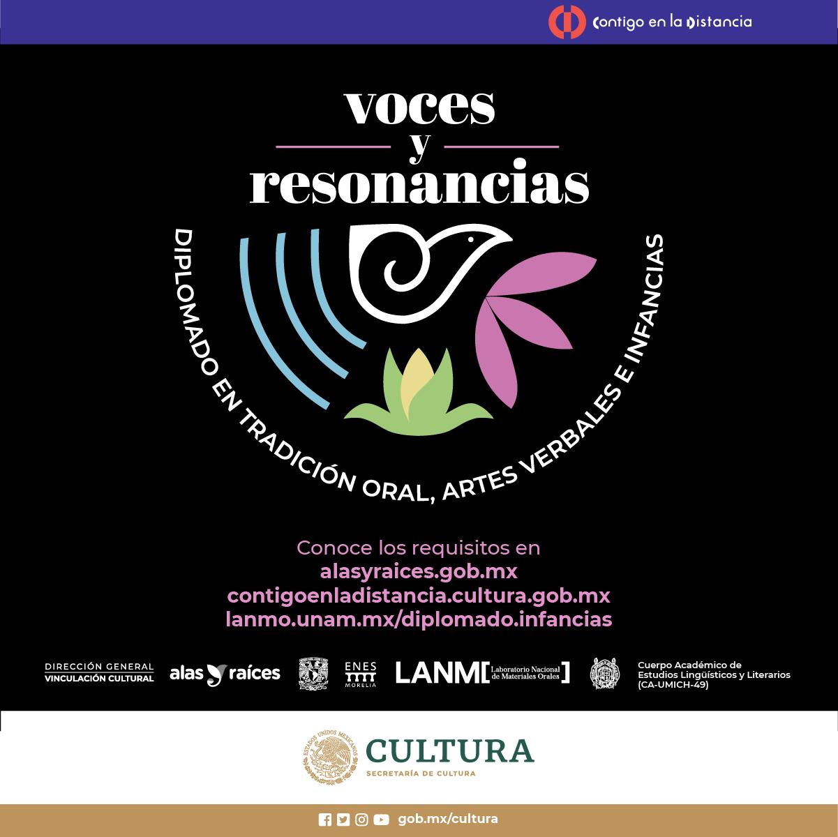 Participa en Voces y resonancias. Diplomado en tradición oral, artes verbales e infancias